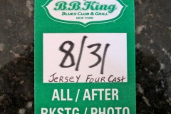 Jersey Four`s backstage pass at BB Kings