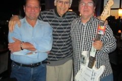 Joe Long with Jersey Four Cast Members Autographs Fender Guitar at McLoones
